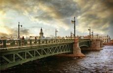 В Петербурге нетрезвый мужчина потанцевал на льду под Дворцовым мостом